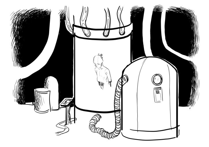 A drawing with a floating cyborg/being inside a tube hooked up to a bit of machinery.